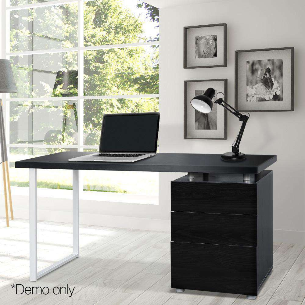Office Study Computer Desk w/ 3 Drawer Cabinet Black - Desirable Home Living