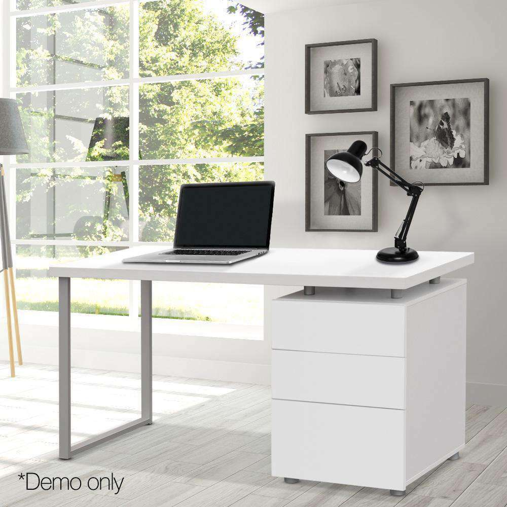 Office Study Computer Desk w/ 3 Drawer Cabinet White - Desirable Home Living