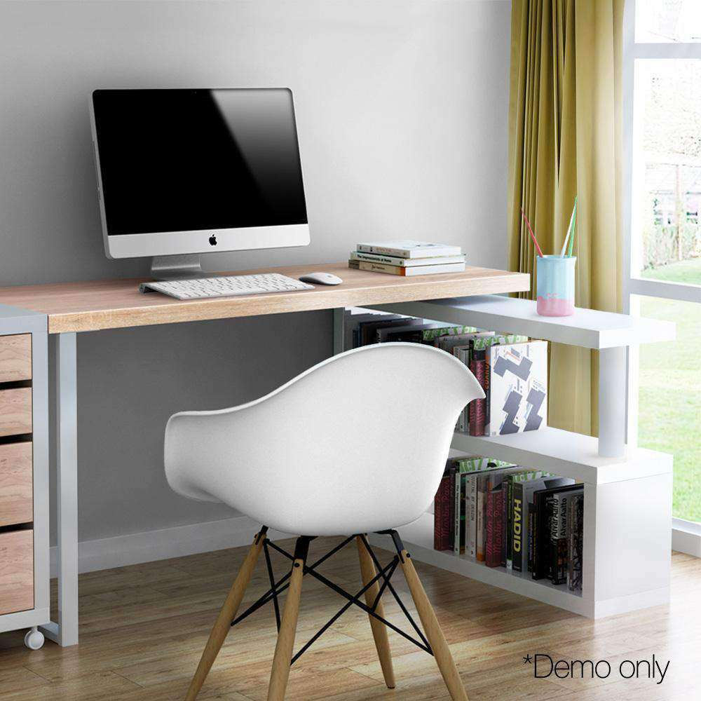 Rotary Corner Brown Office Computer Desk w/ White Bookshelf - Desirable Home Living