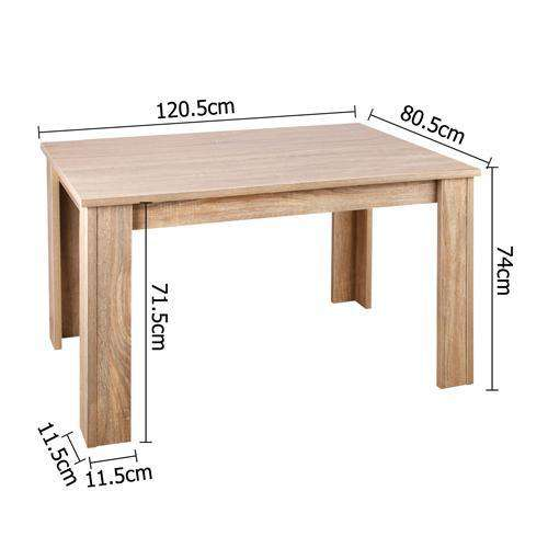 Rectangular 4 Seater Dining Table Natural Wood - Desirable Home Living