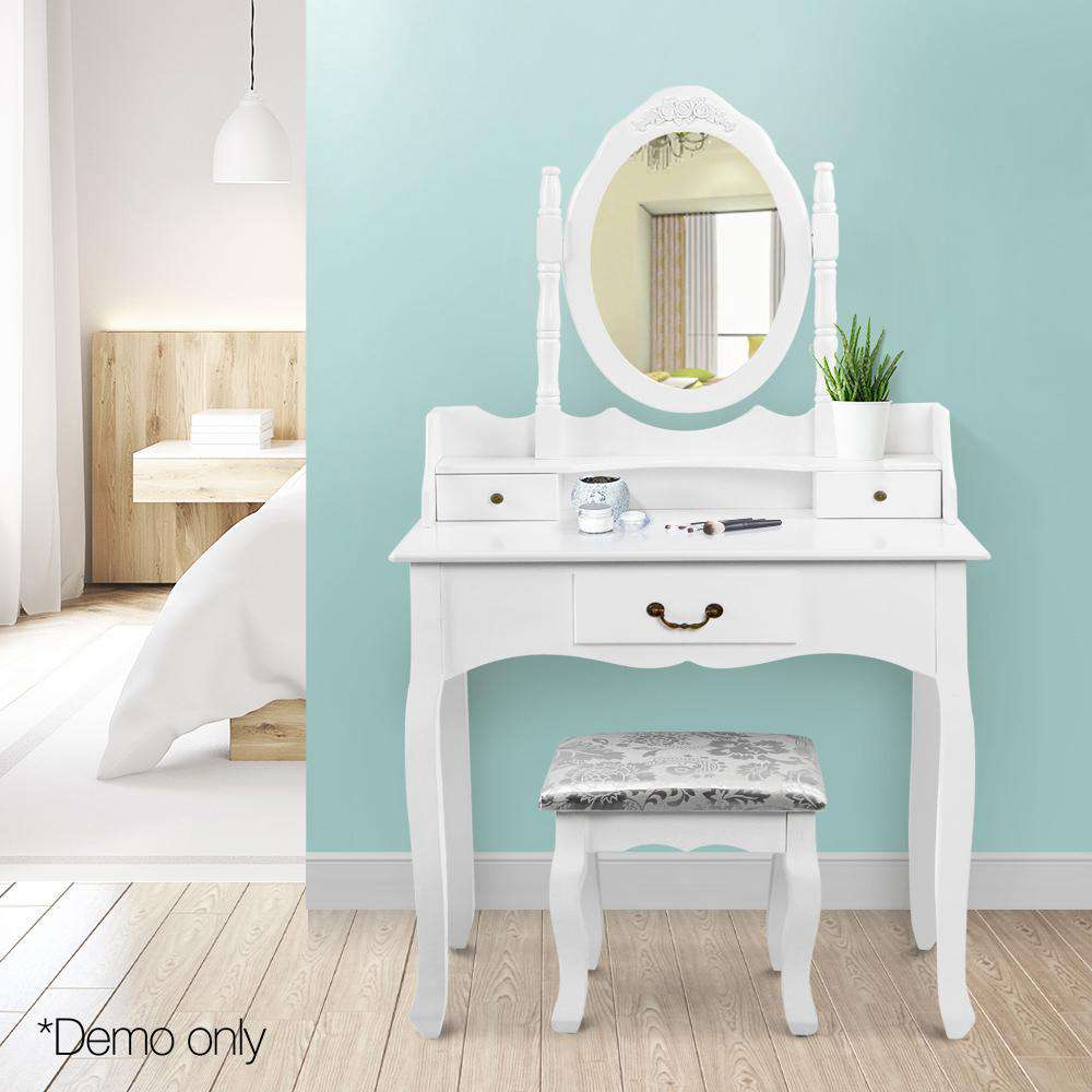 3 Drawer Dressing Table w/ Mirror White - Desirable Home Living