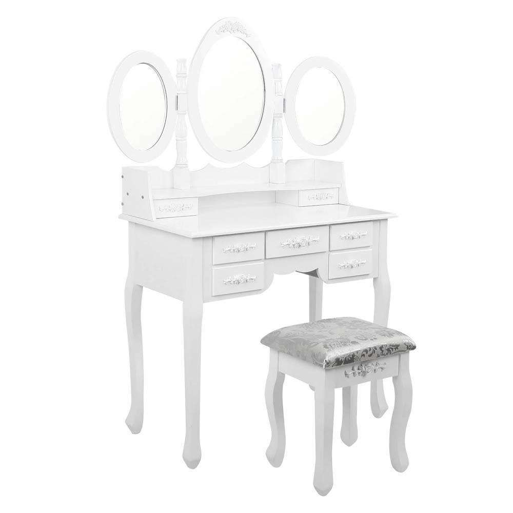 7 Drawer Dressing Table w/ Mirror White