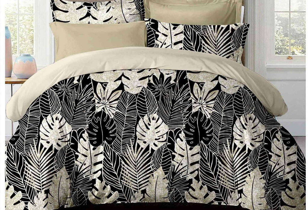 King Size Dex Black and White Fruit Salad Plant Quilt Cover Set (3PCS)