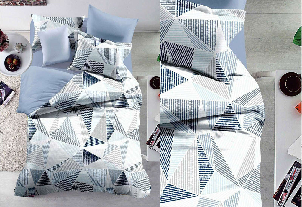 Queen Size Halsey Grey and White Geometric Pattern Quilt Cover Set (3PCS)