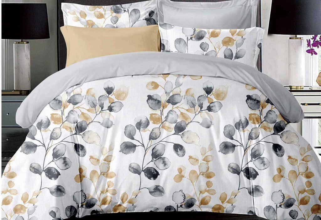 King Size Idina Leaf Pattens Quilt Cover Set (3PCS)