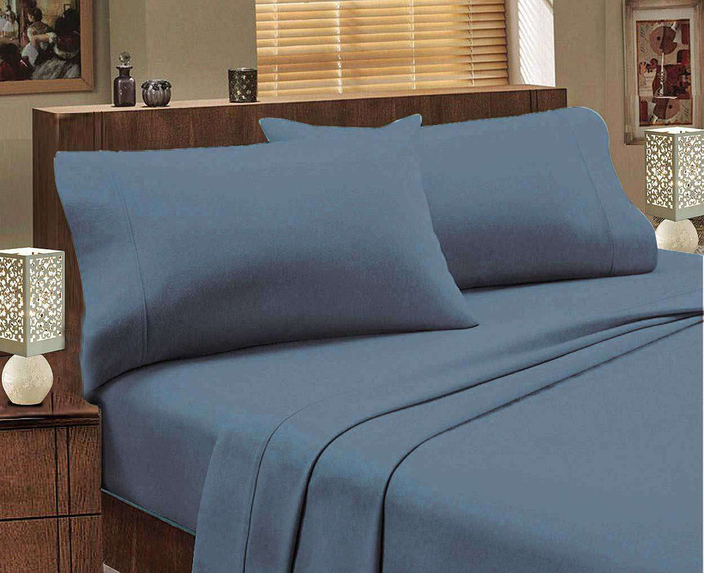 King Single size Egyptian Cotton flannelette Sheet Set (Indigo)