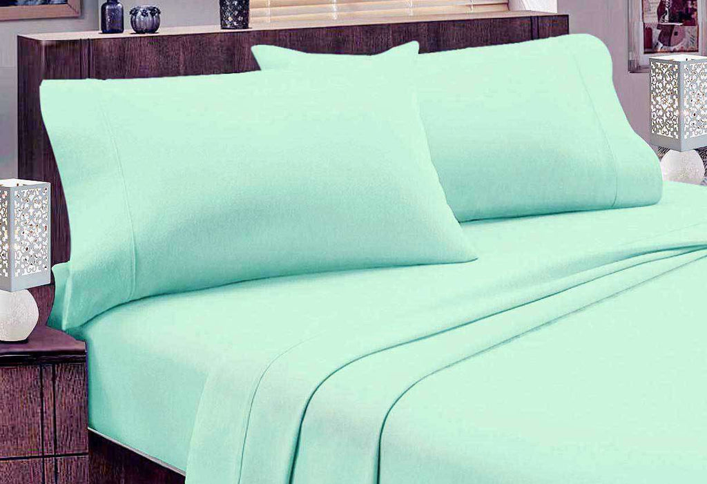 Single size Egyptian Cotton flannelette Sheet Set (Mint)