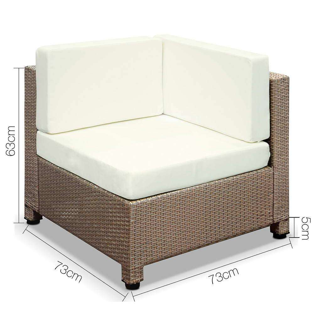 Gardeon 5 Piece PE Wicker Outdoor Sofa - Brown & Biege