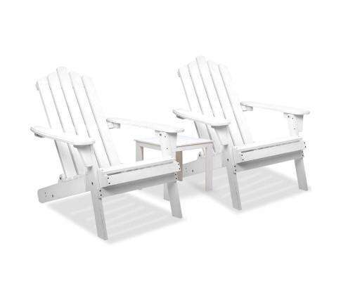 Gardeon 3 Piece Wooden Outdoor Beach Chair and Table Set