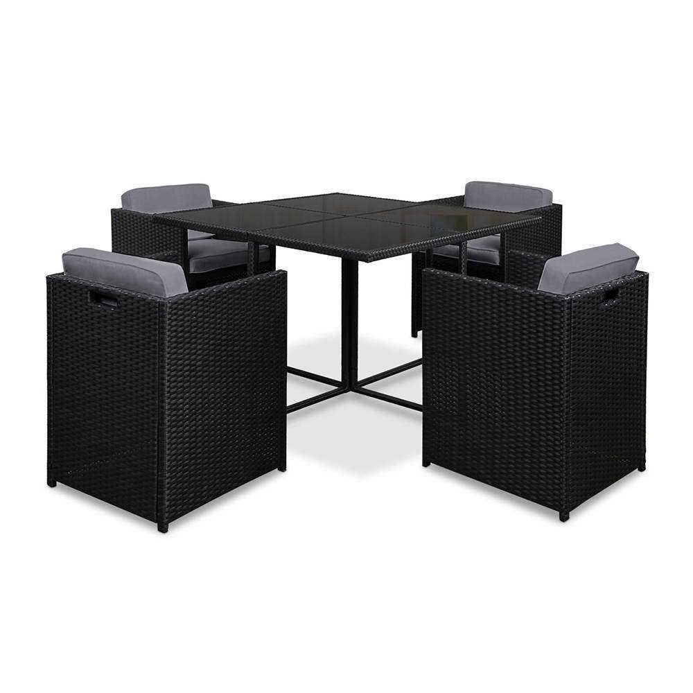 Rio Dining 5 Seater Set – Black & Grey - Desirable Home Living