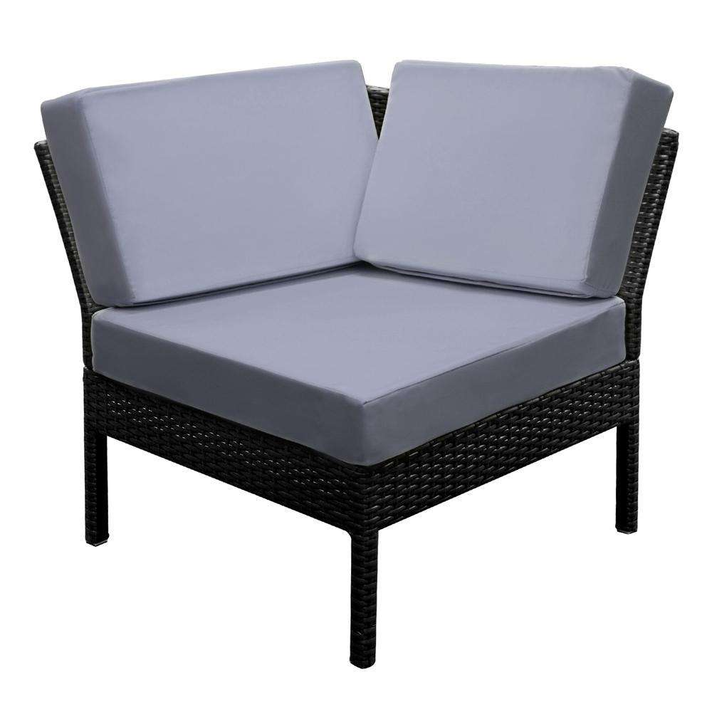 Stackable 6 pcs Black Wicker Rattan 5 Seater Outdoor Lounge Set Grey - Desirable Home Living