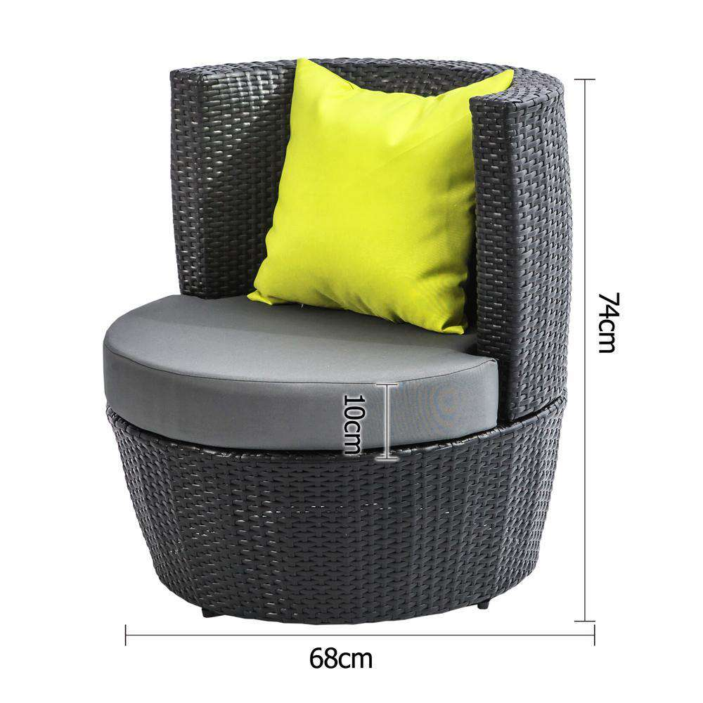 Stackable 4 pcs Black Wicker Rattan 2 Seater Outdoor Furniture Set Grey - Desirable Home Living
