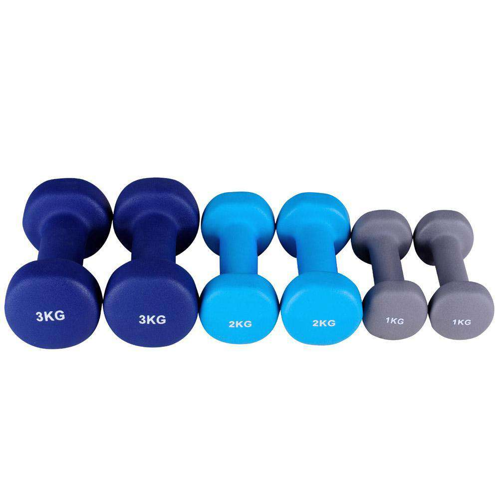 Everfit 6 Piece Dumbbell Weights Set 12kg with Stand