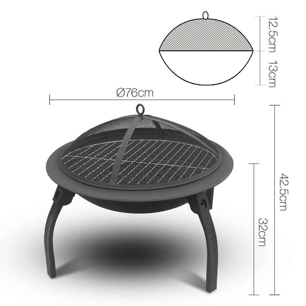 Portable Foldable Outdoor Fire Pit Fireplace 30 Inch - Desirable Home Living