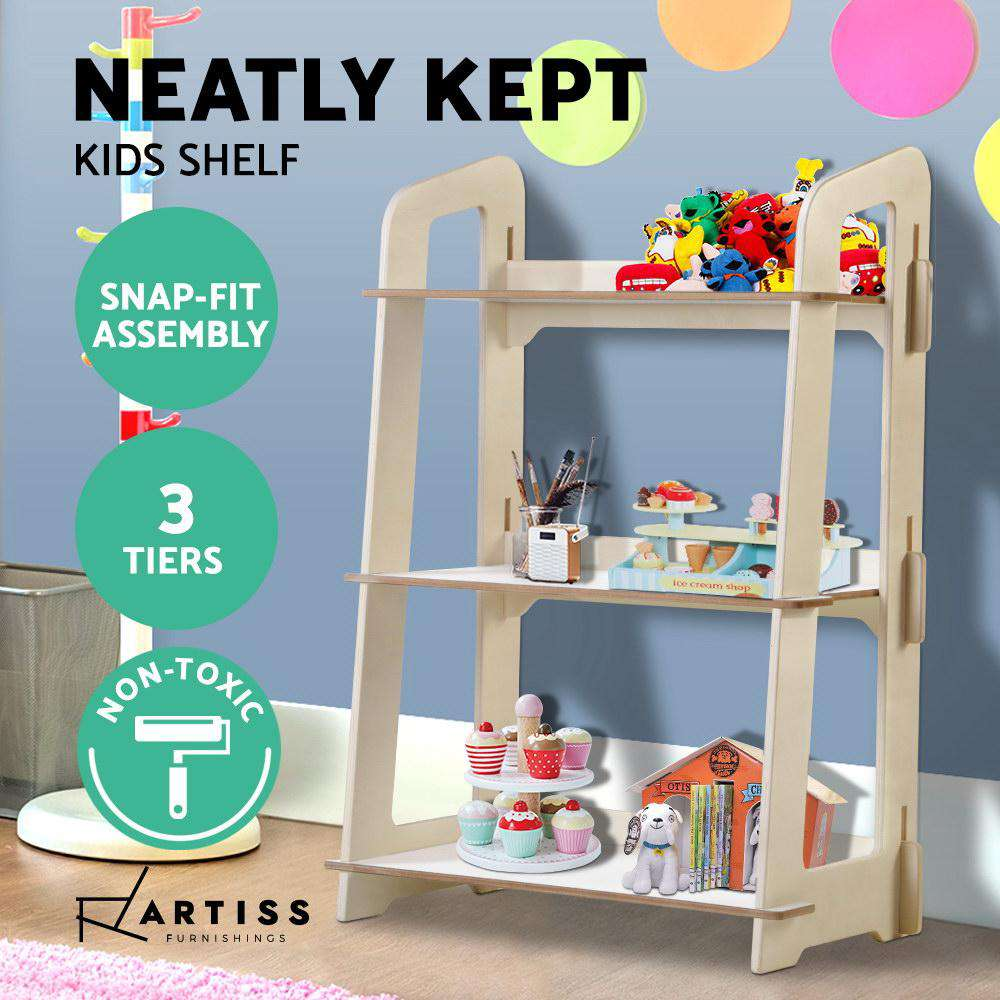 Artiss Kids Bookshelf Children Ladder Shelf Toy Display 3 Tier