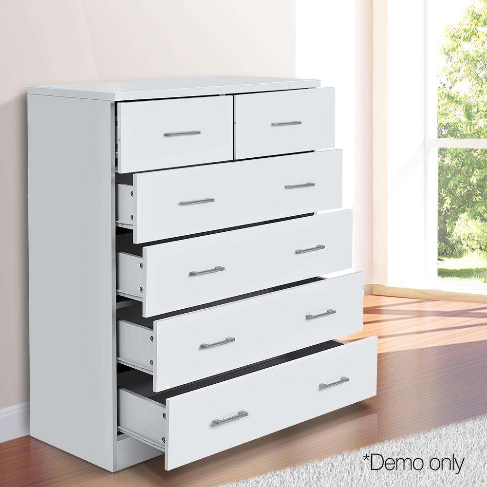 Tallboy 6 Drawers Storage Cabinet White - Desirable Home Living