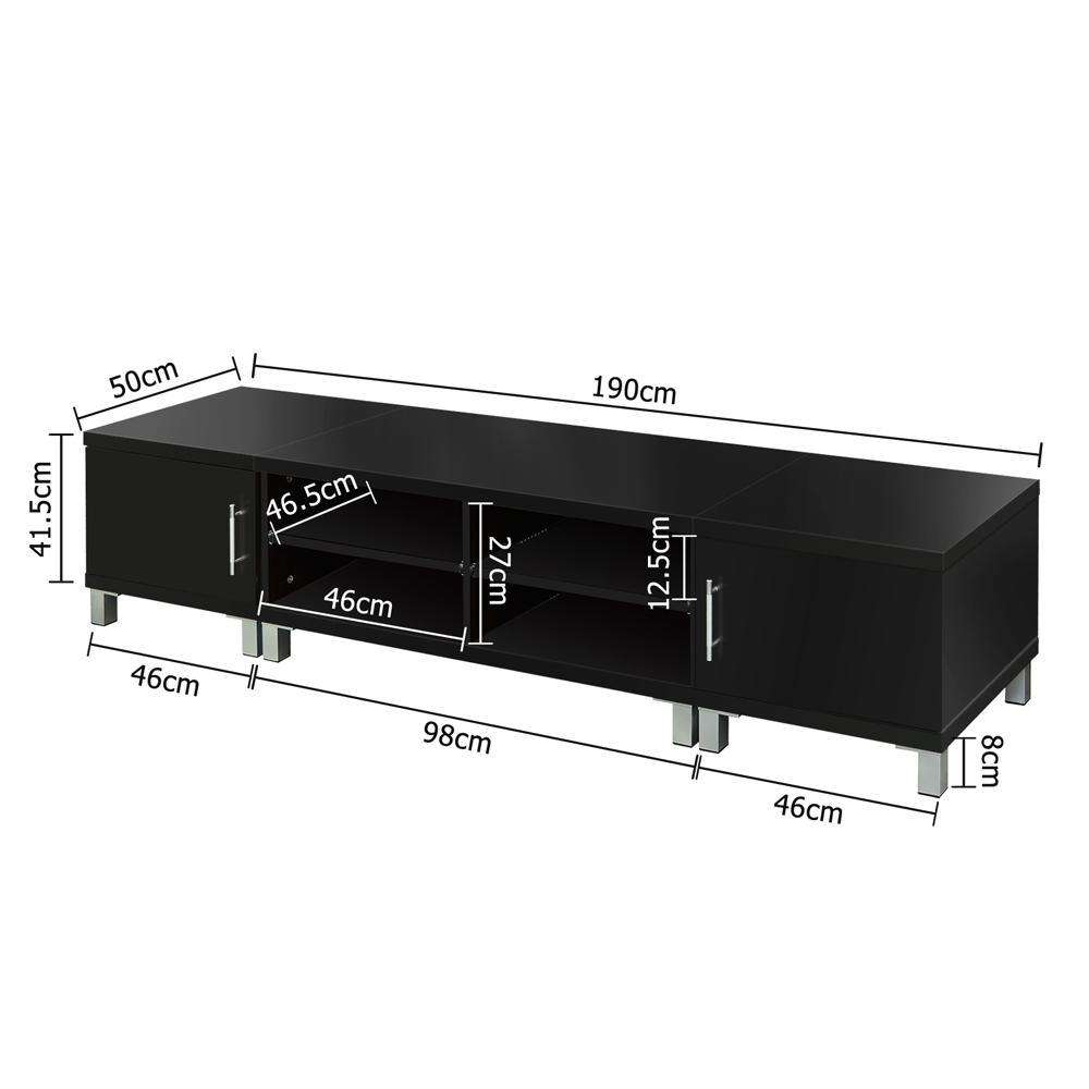 TV Stand Entertainment Unit Lowline Cabinet Drawer Black - Desirable Home Living