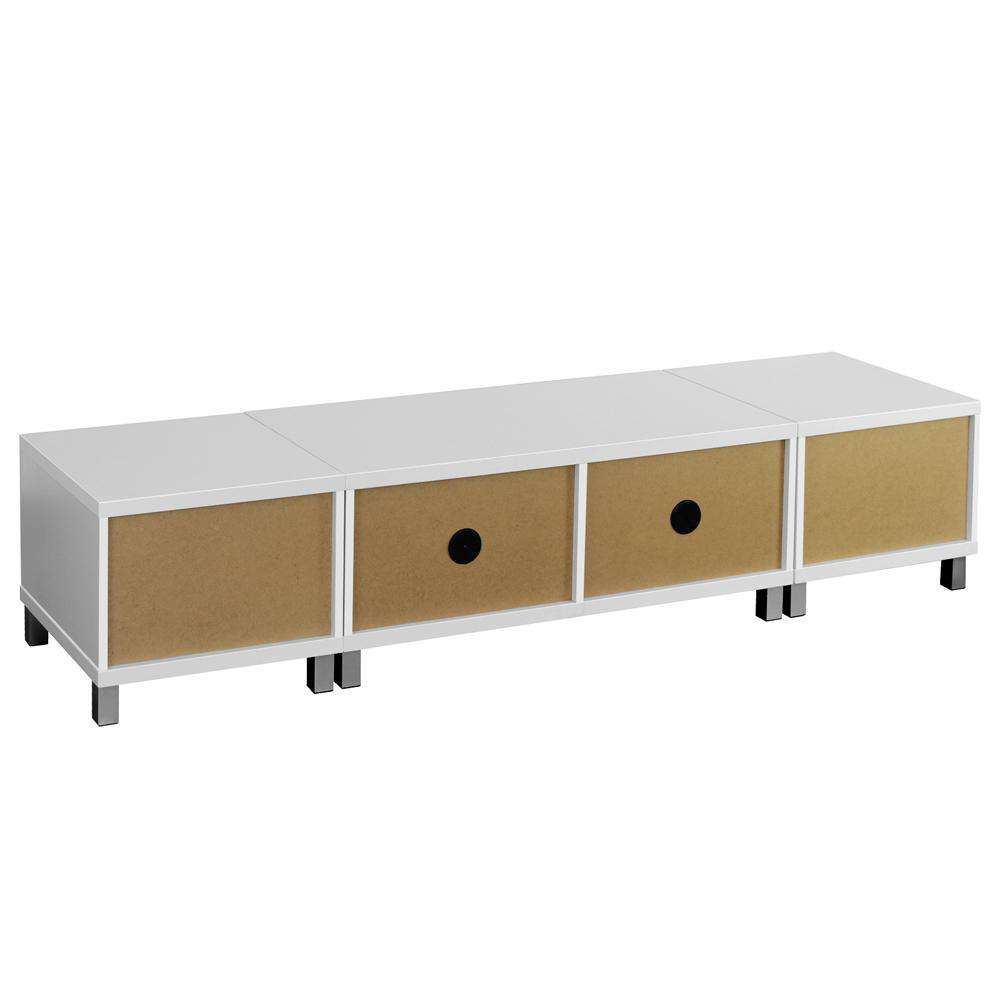 TV Stand Entertainment Unit Lowline Cabinet Drawer White - Desirable Home Living