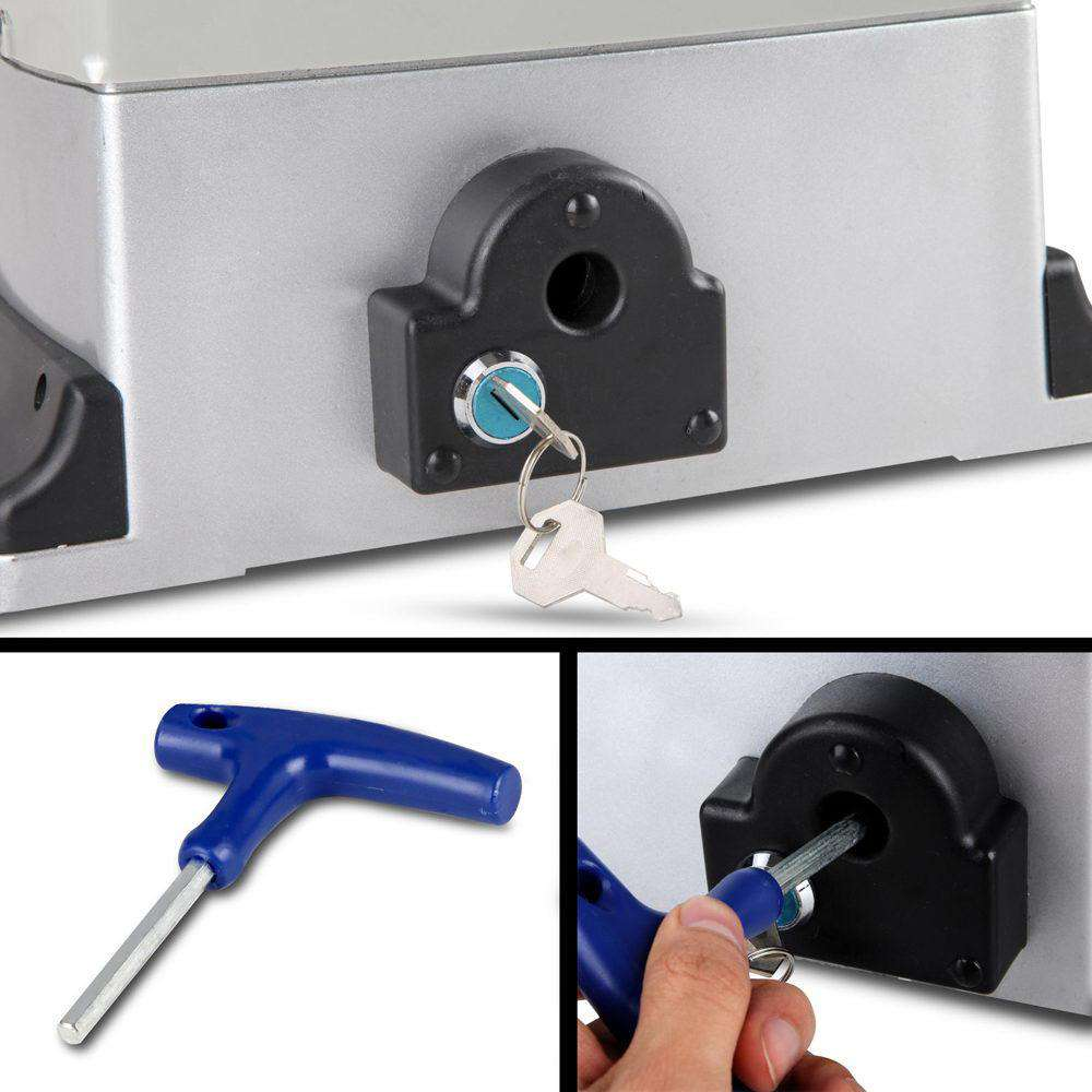 LockMaster Electric Sliding Gate Opener 1200KG With Remote Hardware Kit 4M Rail