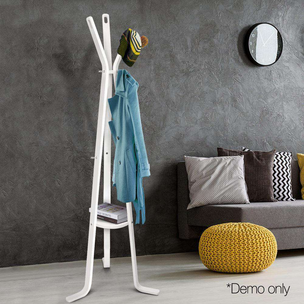 Wooden Coat Rack Clothes Stand Hanger White - Desirable Home Living