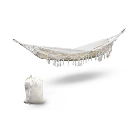 Gardeon Hanging Tassel Hammock Swing Bed Cream