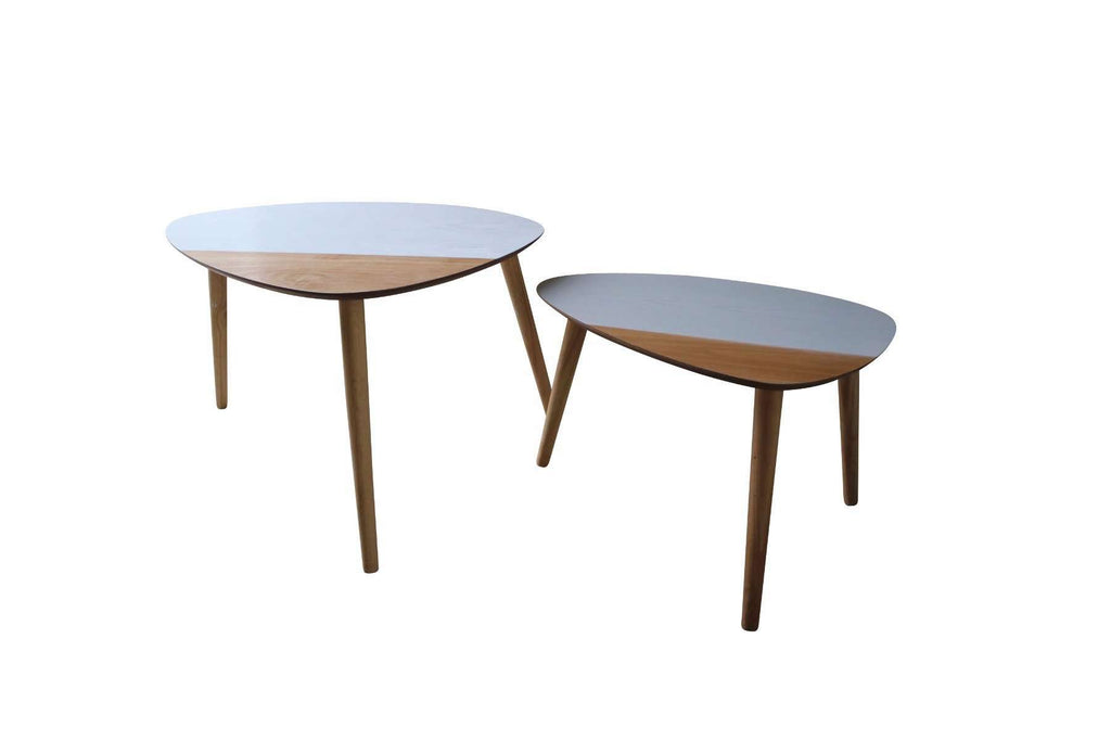 Annika Scandinavian Set of 2 Tables - Grey & White