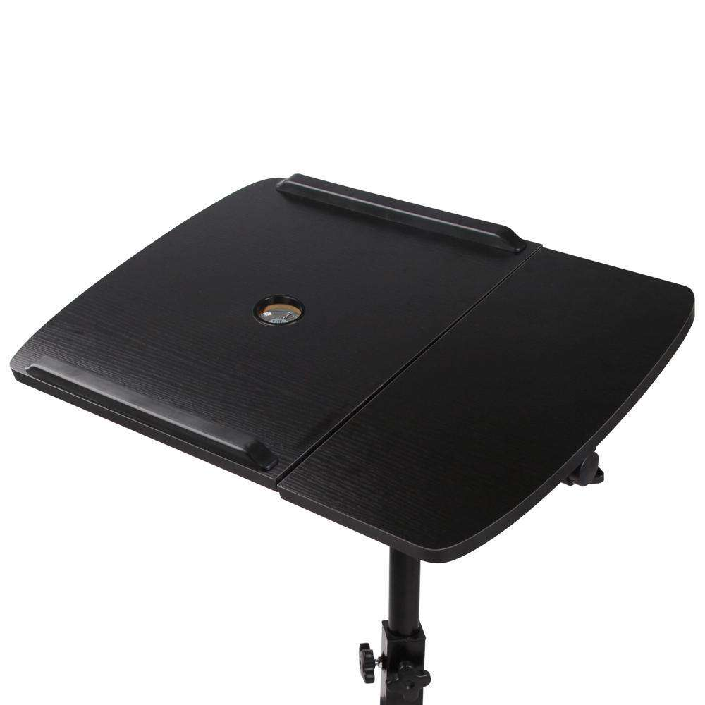Rotating Mobile Laptop Adjustable Desk w/ USB Cooler Black - Desirable Home Living