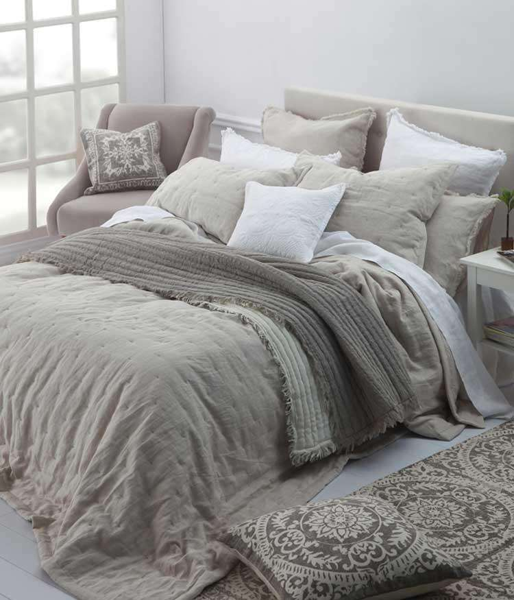 Laundered Linen Natural Queen Bedspread Set by MM Linen