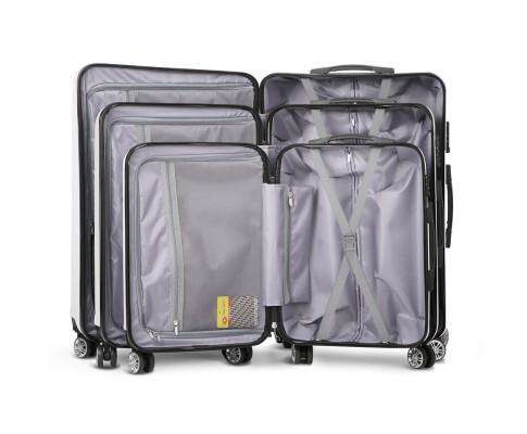 Wanderlite 3 Piece Lightweight Hard Suit Case Luggage White