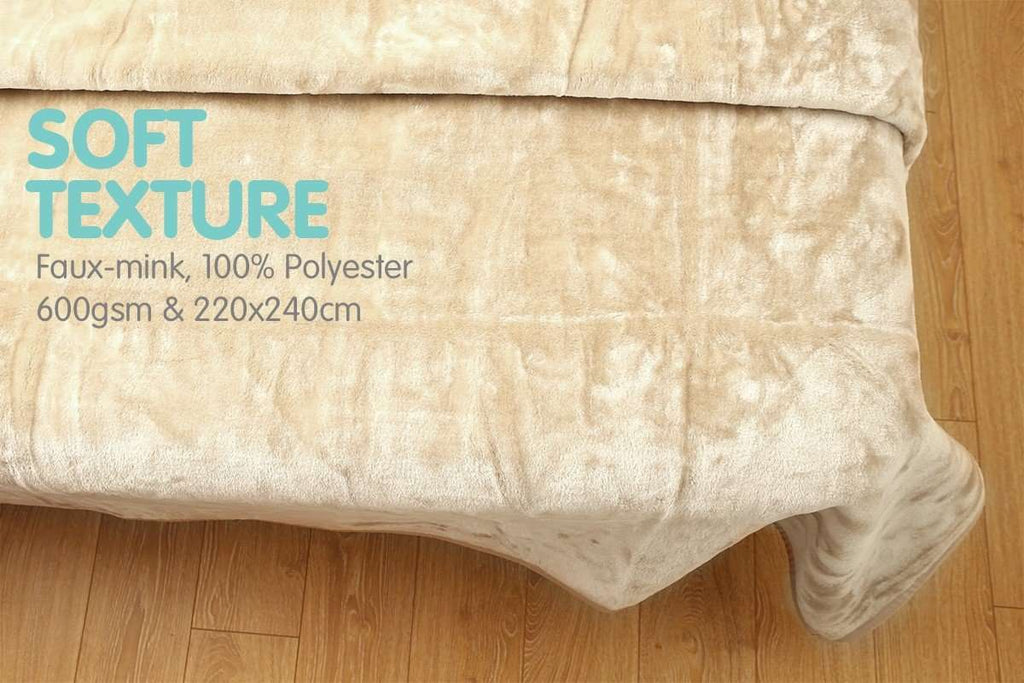 600GSM Large Double-Sided Queen Faux Mink Blanket - BEIGE