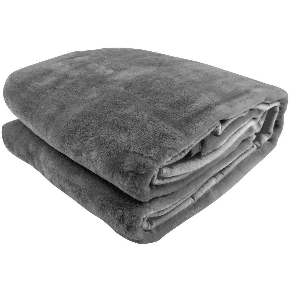 600GSM Double-Sided Queen Size Faux Mink Blanket - PEWTER SILVER
