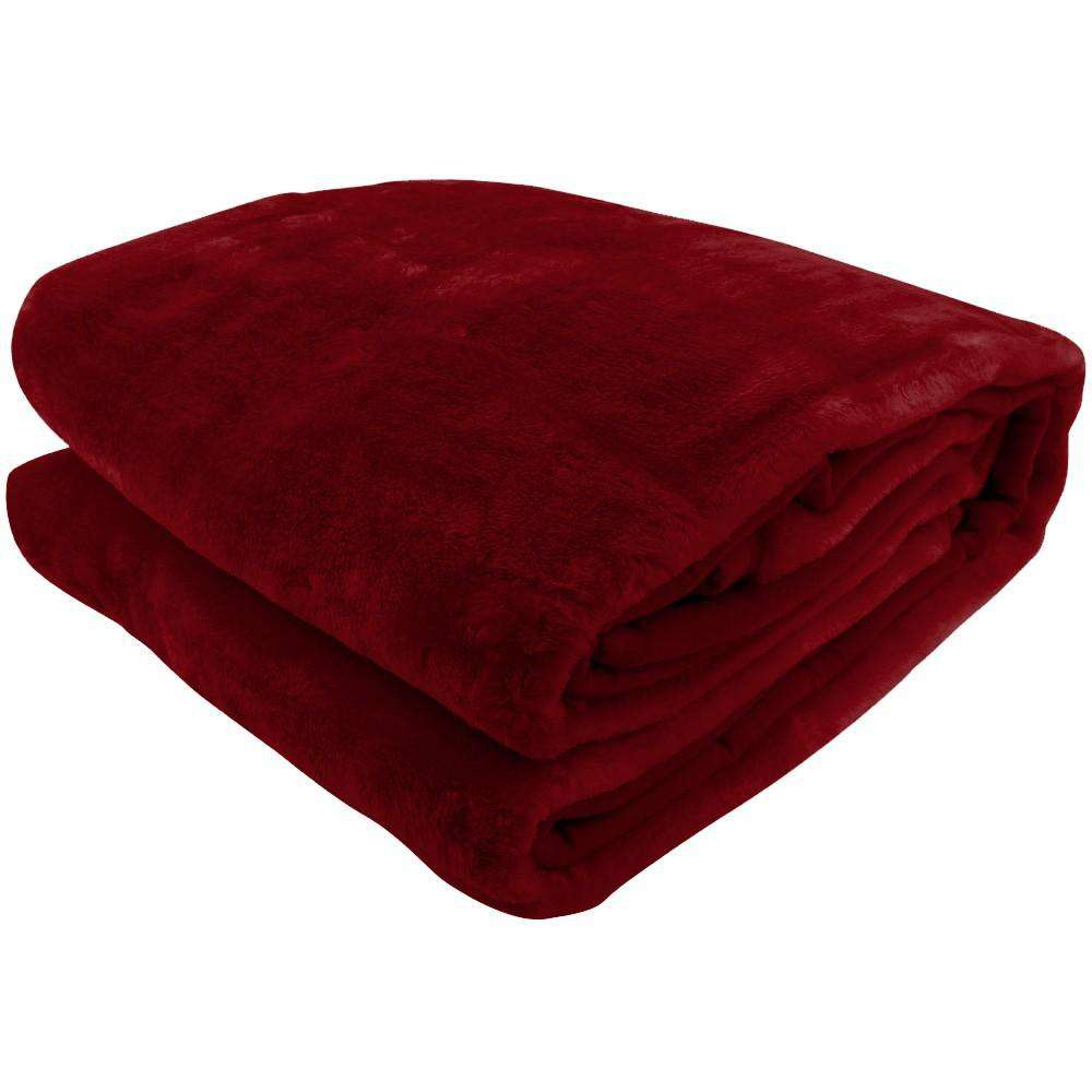 600GSM Large Double-Sided Faux Mink Blanket - WINE RED