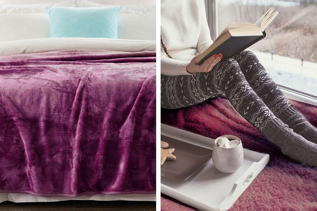 800GSM Heavy Double-Sided Faux Mink Blanket - PURPLE