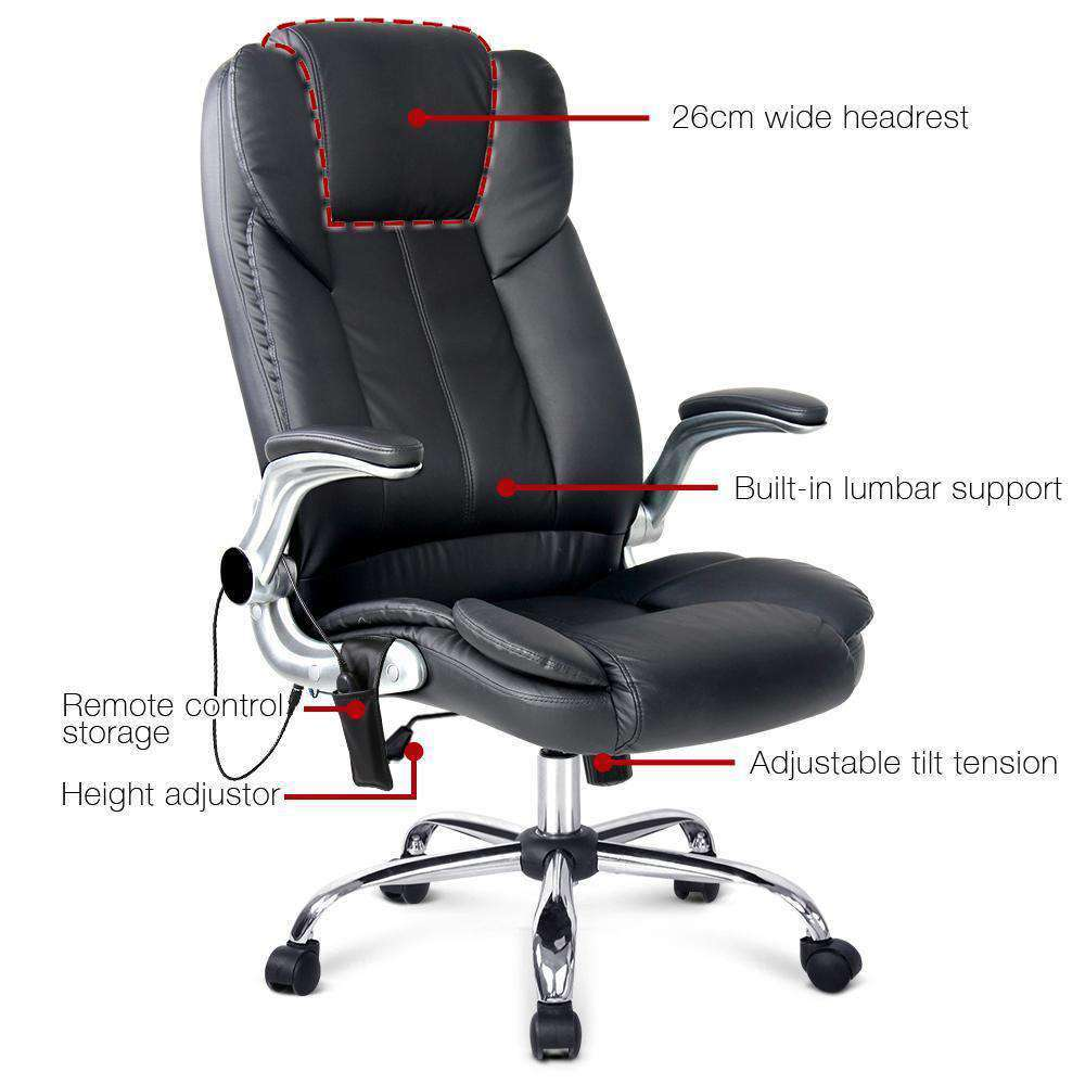 PU Leather 8-point Massage Office Chair Black - Desirable Home Living