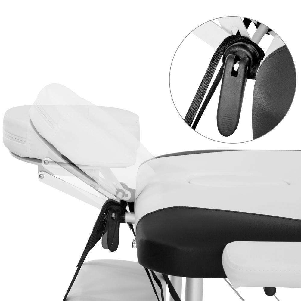 Portable Aluminium 3 Fold Massage Table Chair Bed Black White 75cm - Desirable Home Living