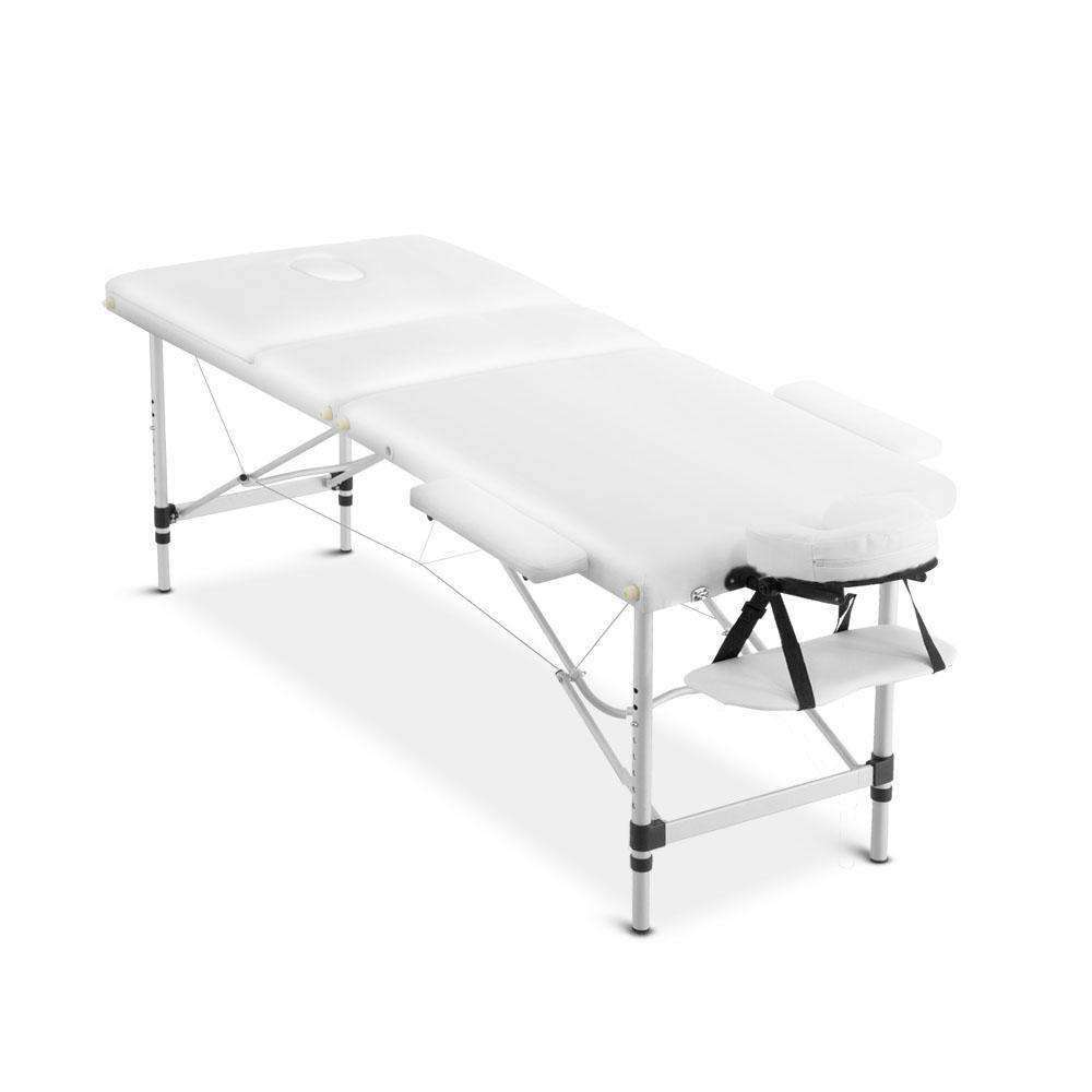 Portable Aluminium 3 Fold Massage Table Chair Bed White 75cm - Desirable Home Living