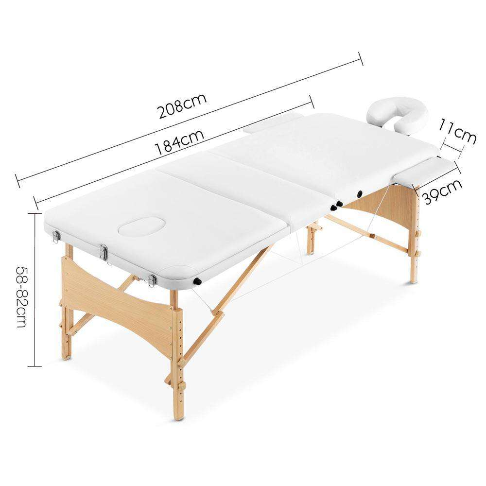 Portable Wooden 3 Fold Massage Table Chair Bed White 70 cm - Desirable Home Living