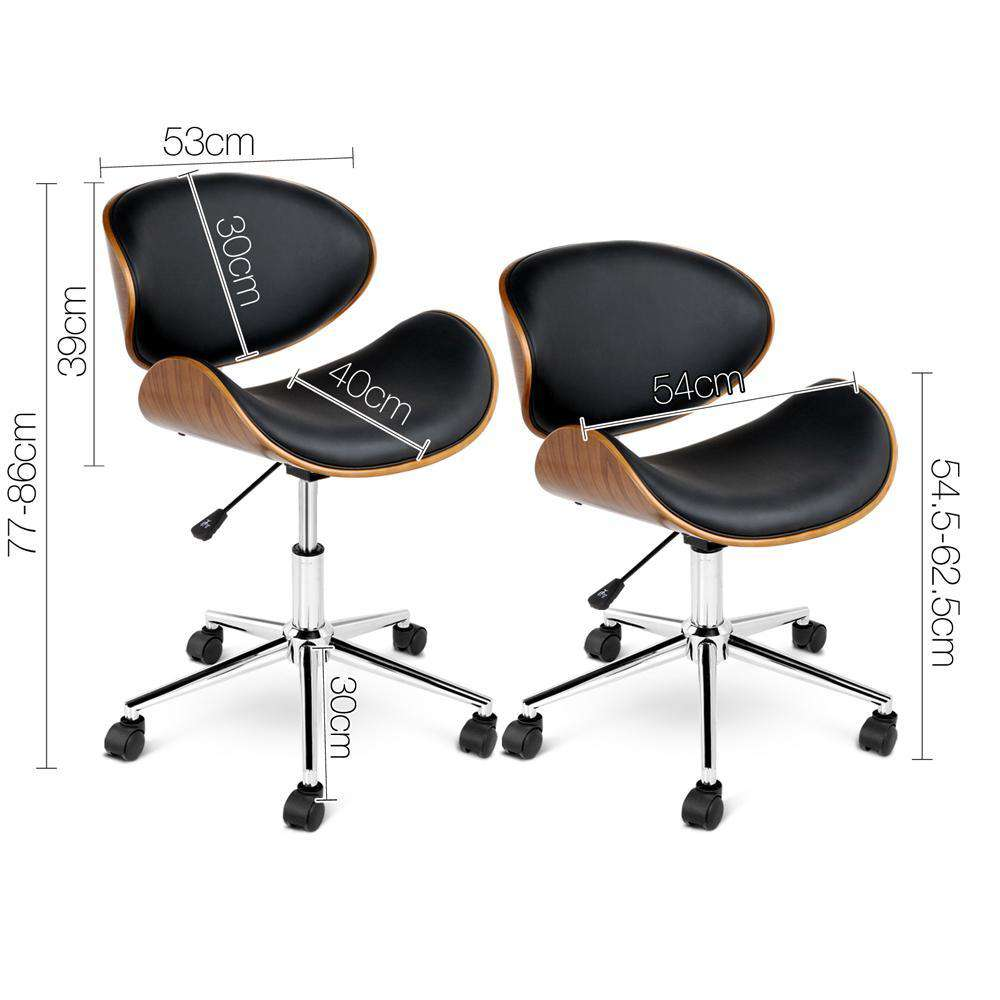 PU Leather Curved Office Chair Black - Desirable Home Living