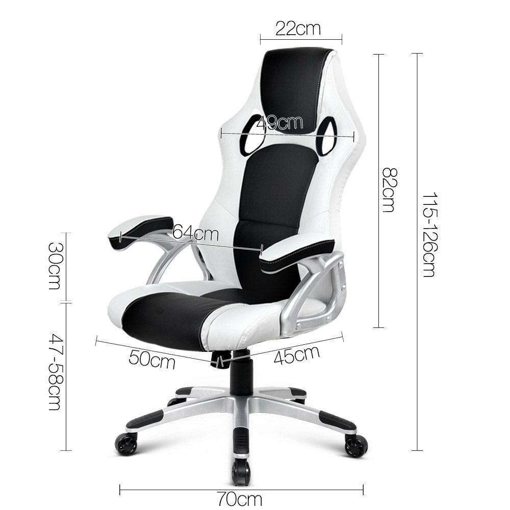 PU Leather Racing Style Office Chair Black and White - Desirable Home Living