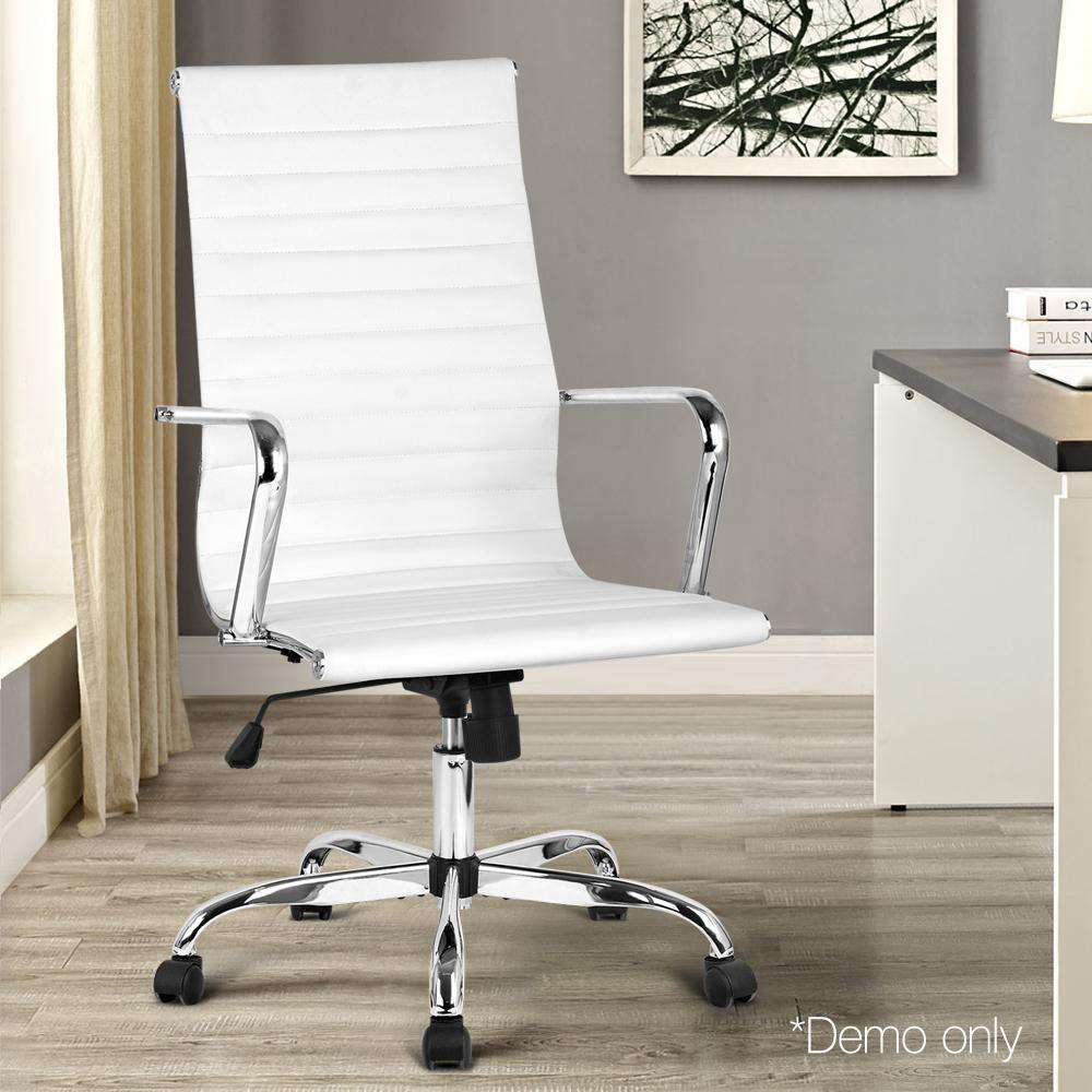 Replica Eames PU Leather High Back Office Chair - White - Desirable Home Living