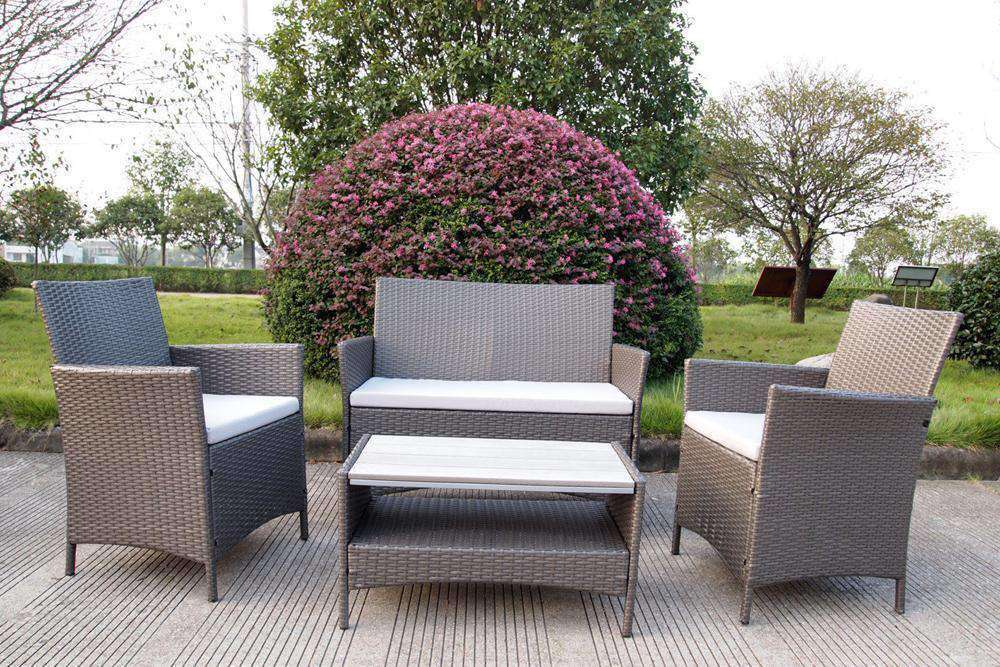 Ravello 4 Piece Rattan Sofa Set - Polywood Table