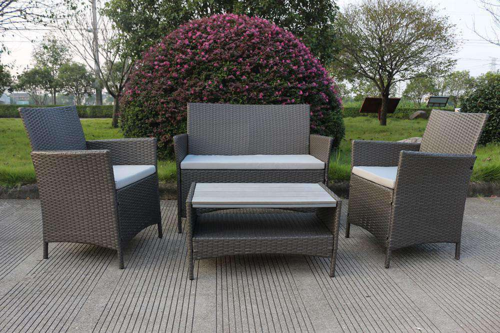 Ravello 4 Piece Rattan Sofa Set - Polywood Table - Desirable Home Living