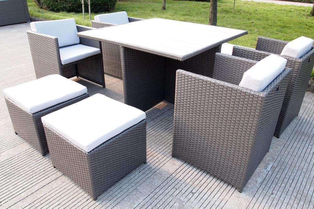 Messina 9 Piece Rattan Dining Set - Desirable Home Living