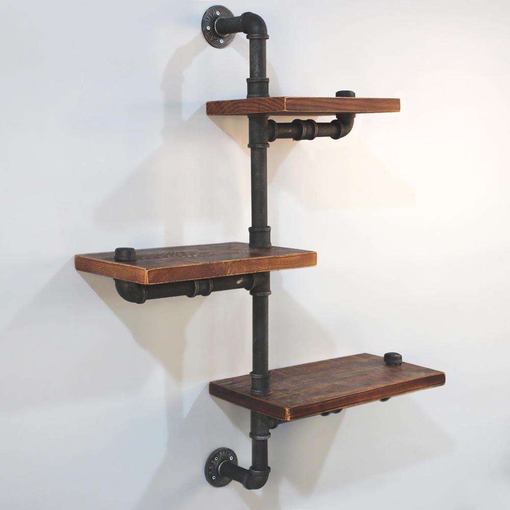 Rustic Industrial DIY Floating Pipe Shelf