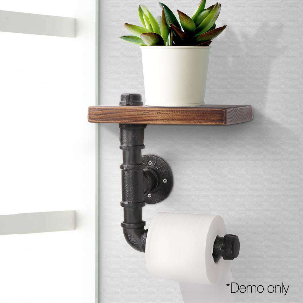 Rustic Industrial DIY Floating Pipe Shelf Paper Holder - Desirable Home Living