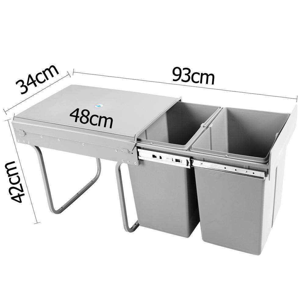 Set of 2 20L Twin Pull Out Bins - Grey