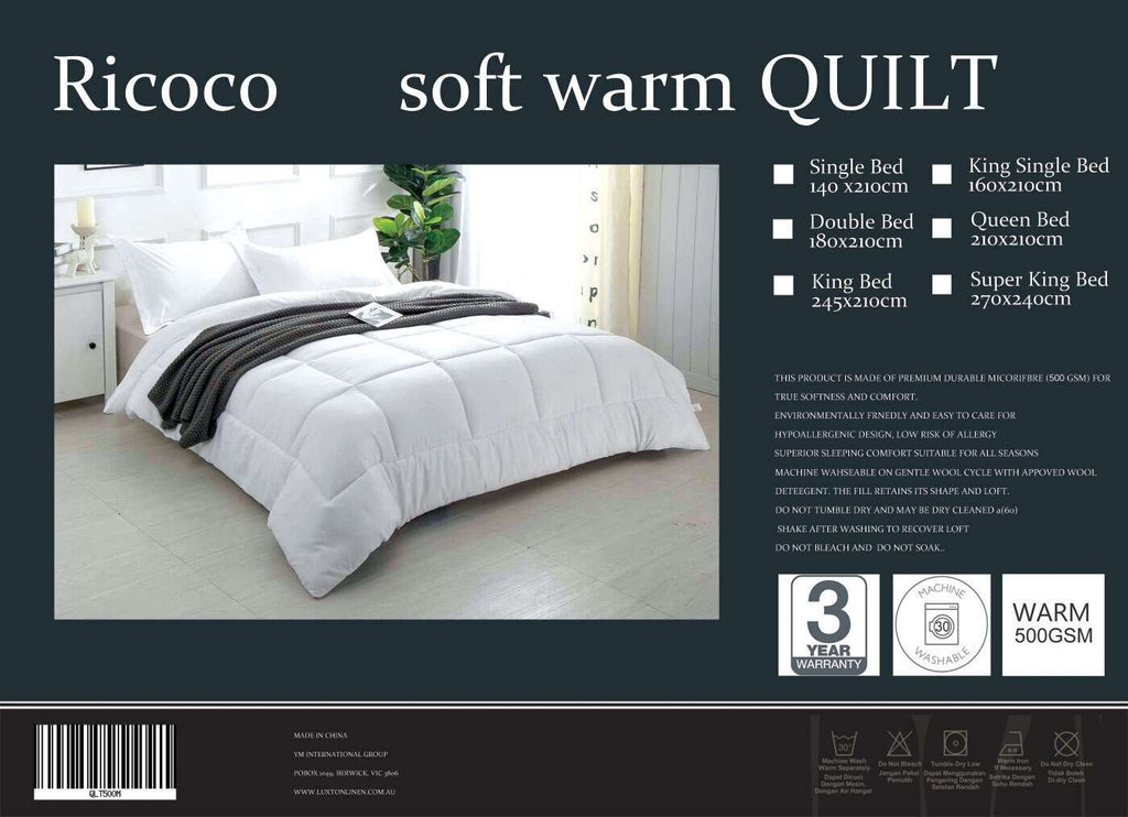 Super King Size 500GSM Soft Warm Quilt