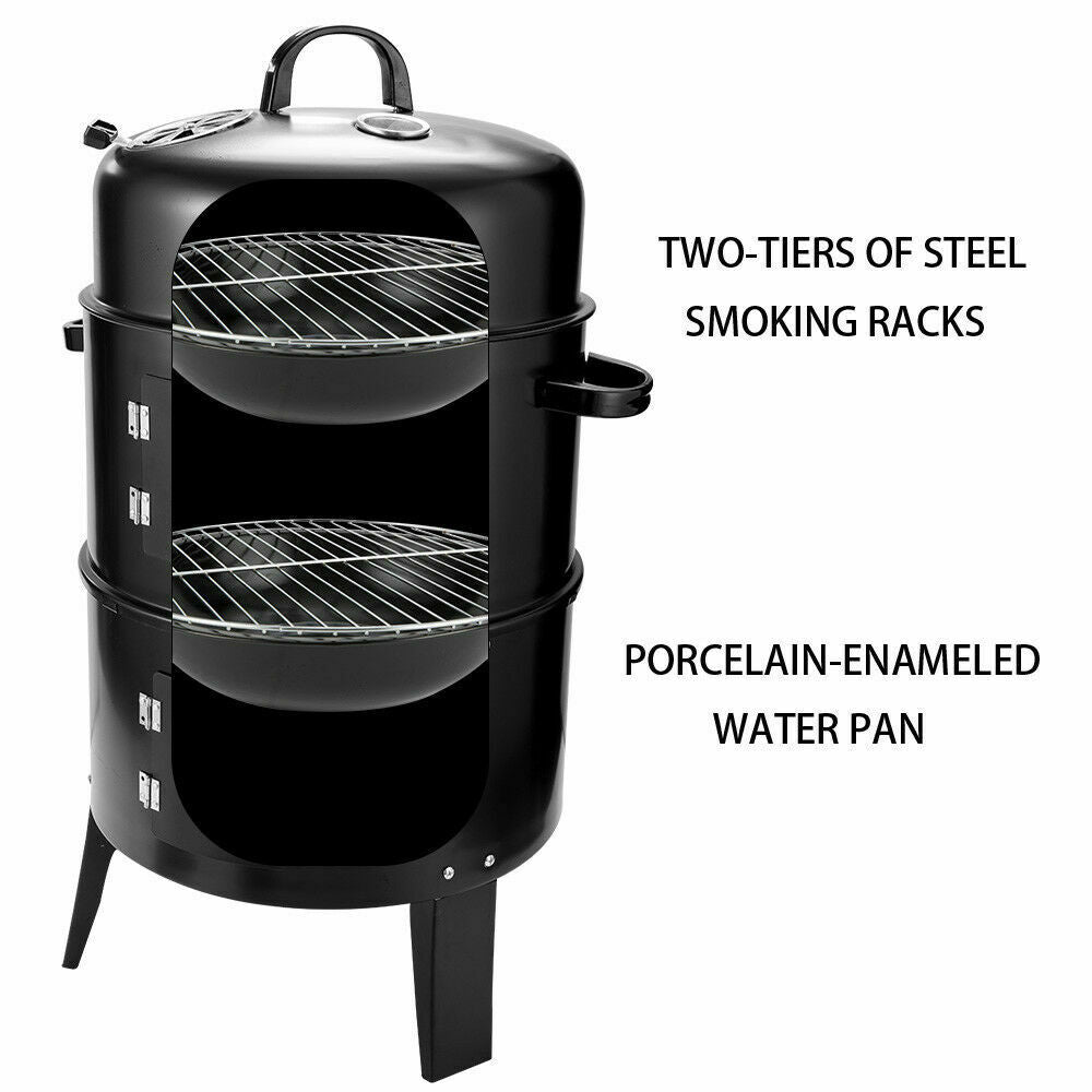 3In1 Portable Charcoal Vertical Smoker