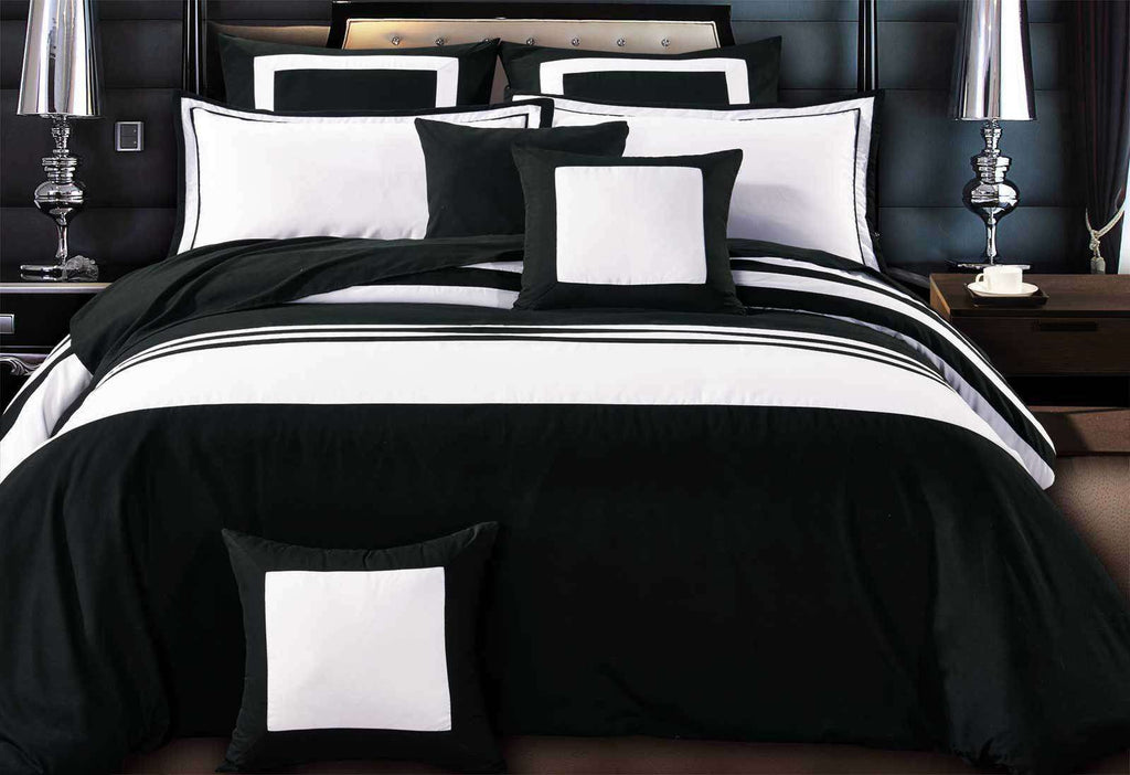 King Size Rossier Black-White Striped Quilt Cover Set(3PCS)