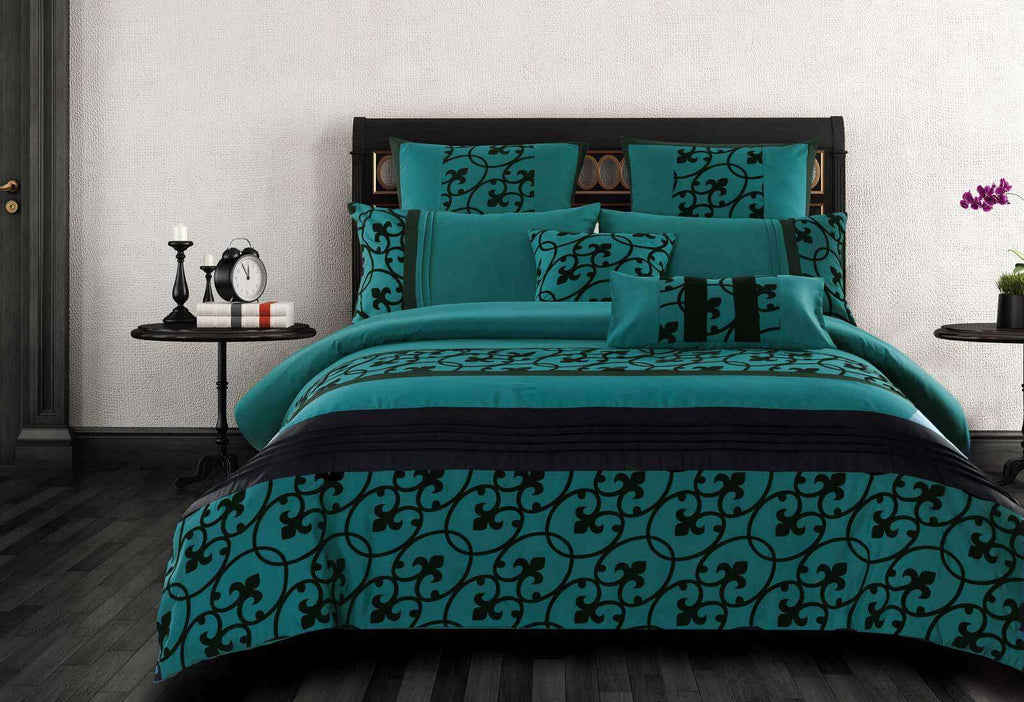 King Size Halsey Teal and Black Quilt Cover Set (3PCS)